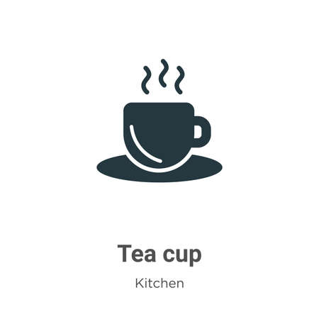Tea cup vector icon on white background. Flat vector tea cup icon symbol sign from modern kitchen collection for mobile concept and web apps design. Vettoriali