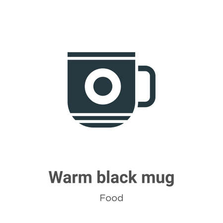 Warm black mug vector icon on white background. Flat vector warm black mug icon symbol sign from modern food collection for mobile concept and web apps design.