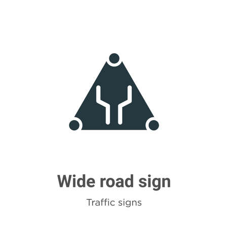 Wide road sign vector icon on white background. Flat vector wide road sign icon symbol sign from modern traffic signs collection for mobile concept and web apps design.