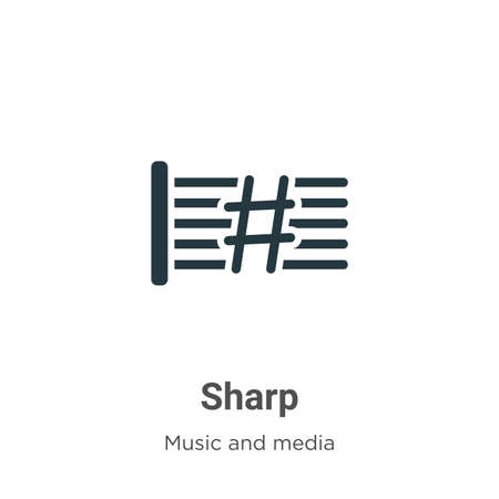 Sharp vector icon on white background. Flat vector sharp icon symbol sign from modern music and media collection for mobile concept and web apps design.