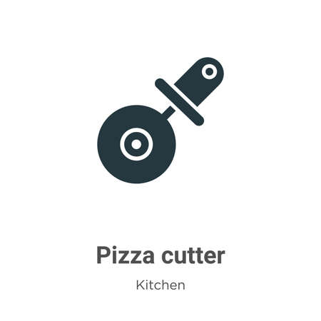Pizza cutter vector icon on white background. Flat vector pizza cutter icon symbol sign from modern kitchen collection for mobile concept and web apps design. Çizim
