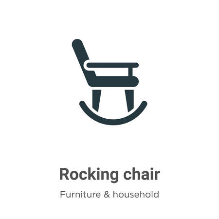 Rocking chair vector icon on white background. Flat vector rocking chair icon symbol sign from modern furniture collection for mobile concept and web apps design. Illustration