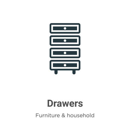 Drawers vector icon on white background. Flat vector drawers icon symbol sign from modern furniture & household collection for mobile concept and web apps design.
