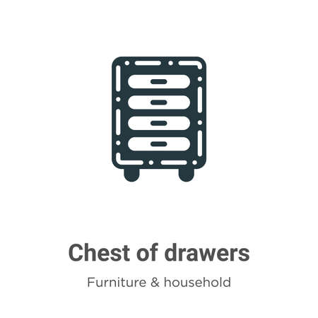 Chest of drawers vector icon on white background. Flat vector chest of drawers icon symbol sign from modern furniture and household collection for mobile concept and web apps design.