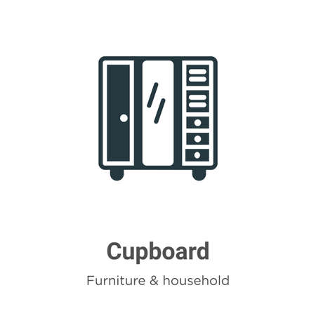Cupboard vector icon on white background. Flat vector cupboard icon symbol sign from modern furniture and household collection for mobile concept and web apps design.