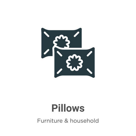 Pillows vector icon on white background. Flat vector pillows icon symbol sign from modern furniture & household collection for mobile concept and web apps design.