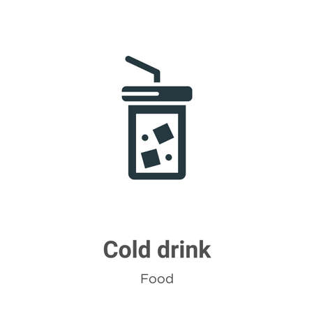 Cold drink vector icon on white background. Flat vector cold drink icon symbol sign from modern food collection for mobile concept and web apps design. Vettoriali