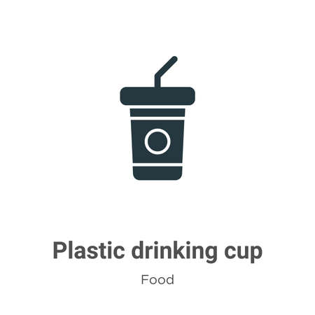 Plastic drinking cup vector icon on white background. Flat vector plastic drinking cup icon symbol sign from modern food collection for mobile concept and web apps design.