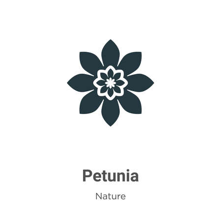 Petunia vector icon on white background. Flat vector petunia icon symbol sign from modern nature collection for mobile concept and web apps design. Ilustração Vetorial