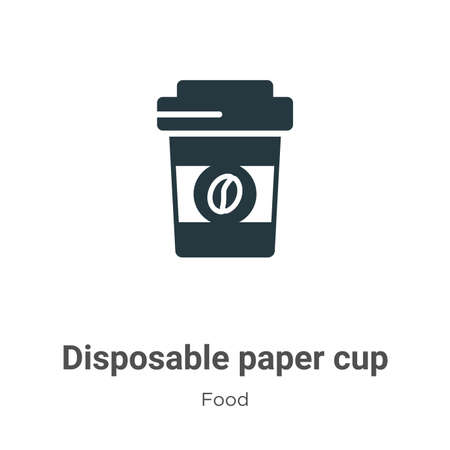 Disposable paper cup vector icon on white background. Flat vector disposable paper cup icon symbol sign from modern food collection for mobile concept and web apps design. Vettoriali