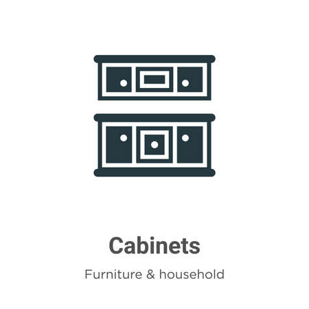 Cabinets vector icon on white background. Flat vector cabinets icon symbol sign from modern furniture and household collection for mobile concept and web apps design. Çizim
