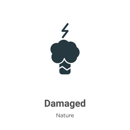 Damaged vector icon on white background. Flat vector damaged icon symbol sign from modern nature collection for mobile concept and web apps design.