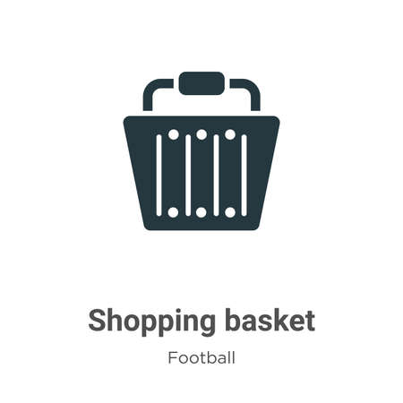 Shopping basket vector icon on white background. Flat vector shopping basket icon symbol sign from modern football collection for mobile concept and web apps design. Çizim