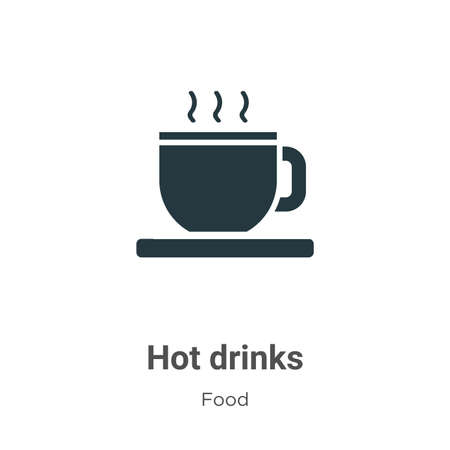 Hot drinks vector icon on white background. Flat vector hot drinks icon symbol sign from modern food collection for mobile concept and web apps design. Vettoriali