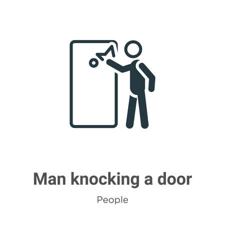 Man knocking a door vector icon on white background. Flat vector man knocking a door icon symbol sign from modern people collection for mobile concept and web apps design.