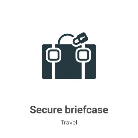 Secure briefcase vector icon on white background. Flat vector secure briefcase icon symbol sign from modern travel collection for mobile concept and web apps design.