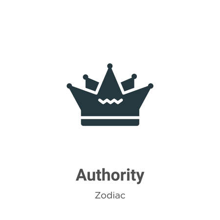 Authority vector icon on white background. Flat vector authority icon symbol sign from modern zodiac collection for mobile concept and web apps design.