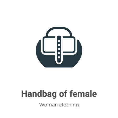 Handbag of female vector icon on white background. Flat vector handbag of female icon symbol sign from modern woman clothing collection for mobile concept and web apps design.