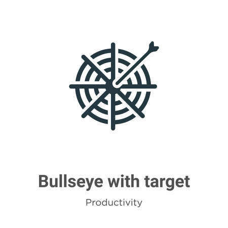 Bullseye with target symbol vector icon on white background. Flat vector bullseye with target symbol icon symbol sign from modern productivity collection for mobile concept and web apps design.