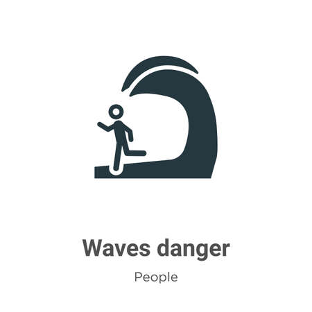 Waves danger vector icon on white background. Flat vector waves danger icon symbol sign from modern people collection for mobile concept and web apps design.