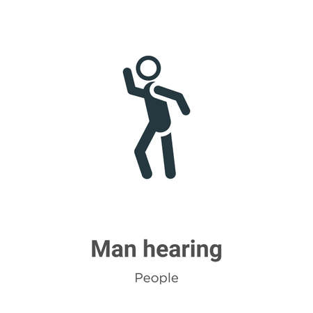 Man hearing vector icon on white background. Flat vector man hearing icon symbol sign from modern people collection for mobile concept and web apps design.