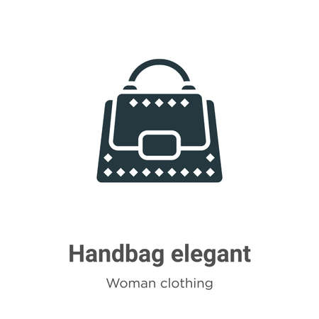 Handbag elegant vector icon on white background. Flat vector handbag elegant icon symbol sign from modern woman clothing collection for mobile concept and web apps design.