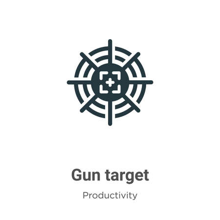 Gun target vector icon on white background. Flat vector gun target icon symbol sign from modern productivity collection for mobile concept and web apps design. Иллюстрация