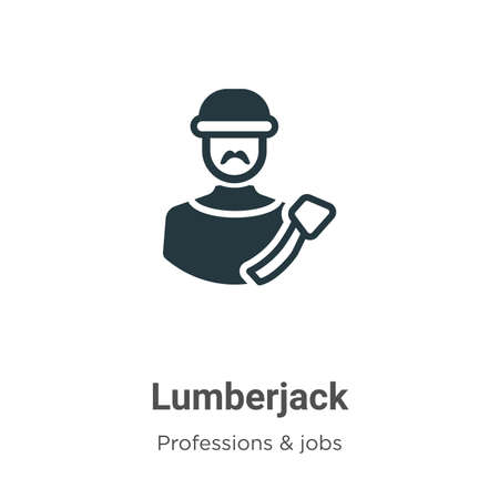 Lumberjack vector icon on white background. Flat vector lumberjack icon symbol sign from modern professions collection for mobile concept and web apps design. Çizim