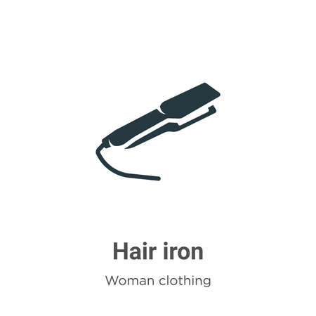 Hair iron vector icon on white background. Flat vector hair iron icon symbol sign from modern woman clothing collection for mobile concept and web apps design.