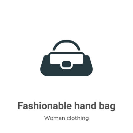 Fashionable hand bag vector icon on white background. Flat vector fashionable hand bag icon symbol sign from modern woman clothing collection for mobile concept and web apps design.