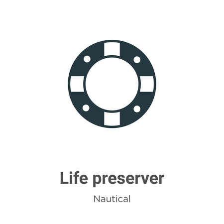 Life preserver glyph icon vector on white background. Flat vector life preserver icon symbol sign from modern nautical collection for mobile concept and web apps design.