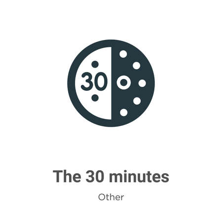 The 30 minutes glyph icon vector on white background. Flat vector the 30 minutes icon symbol sign from modern other collection for mobile concept and web apps design.