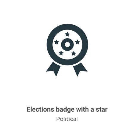 Elections badge with a star glyph icon vector on white background. Flat vector elections badge with a star icon symbol sign from modern political collection for mobile concept and web apps design.