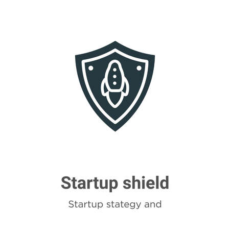 Startup shield glyph icon vector on white background. Flat vector startup shield icon symbol sign from modern startup stategy and success collection for mobile concept and web apps design.
