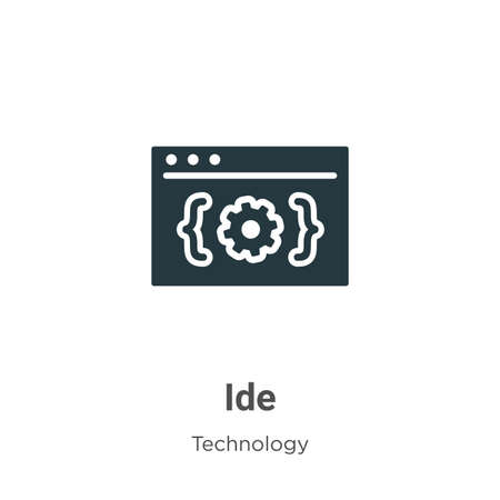 Ide glyph icon vector on white background. Flat vector ide icon symbol sign from modern technology collection for mobile concept and web apps design.