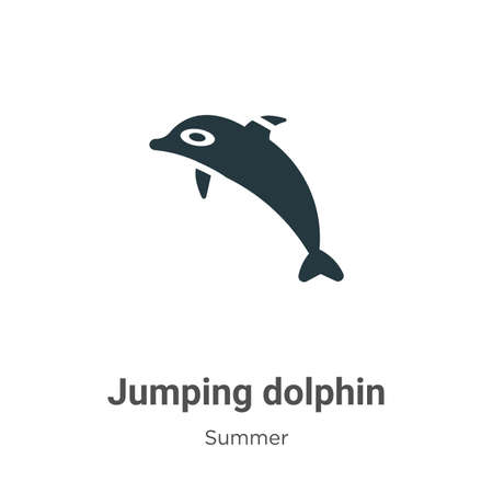 Jumping dolphin glyph icon vector on white background. Flat vector jumping dolphin icon symbol sign from modern summer collection for mobile concept and web apps design.