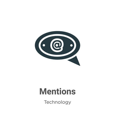 Mentions glyph icon vector on white background. Flat vector mentions icon symbol sign from modern technology collection for mobile concept and web apps design.