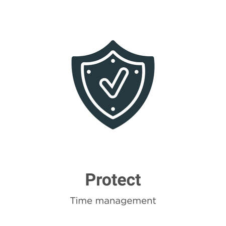 Protect glyph icon vector on white background. Flat vector protect icon symbol sign from modern time management collection for mobile concept and web apps design. Vettoriali