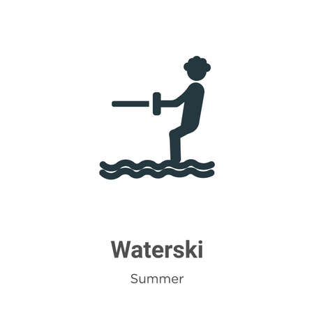 Waterski glyph icon vector on white background. Flat vector waterski icon symbol sign from modern summer collection for mobile concept and web apps design. Ilustração