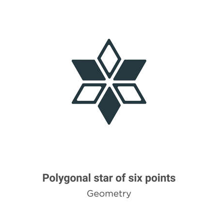 Polygonal star of six points glyph icon vector on white background. Flat vector polygonal star of six points icon symbol sign from modern geometry collection for mobile concept and web apps design.