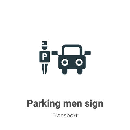 Parking men sign glyph icon vector on white background. Flat vector parking men sign icon symbol sign from modern transport collection for mobile concept and web apps design. Иллюстрация
