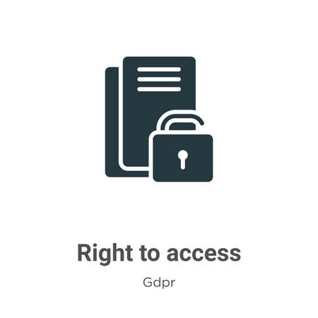 Right to access glyph icon vector on white background. Flat vector right to access icon symbol sign from modern gdpr collection for mobile concept and web apps design.