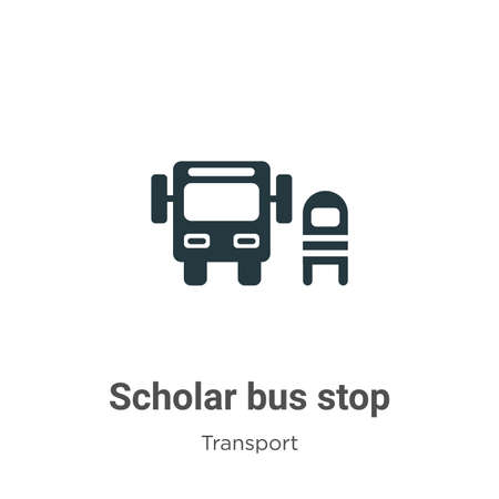 Scholar bus stop glyph icon vector on white background. Flat vector scholar bus stop icon symbol sign from modern transport collection for mobile concept and web apps design. Ilustração