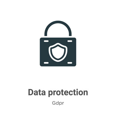 Data protection glyph icon vector on white background. Flat vector data protection icon symbol sign from modern gdpr collection for mobile concept and web apps design.