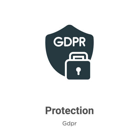 Protection glyph icon vector on white background. Flat vector protection icon symbol sign from modern gdpr collection for mobile concept and web apps design.