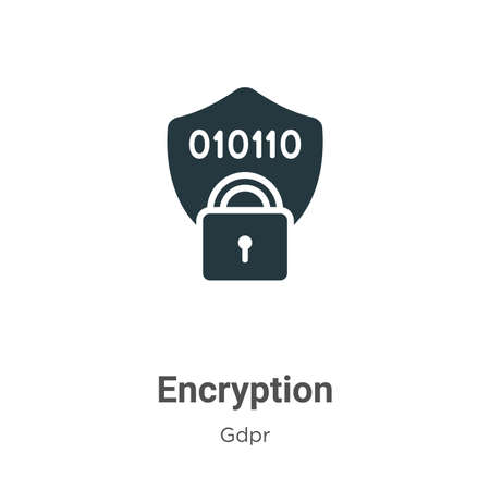 Encryption glyph icon vector on white background. Flat vector encryption icon symbol sign from modern gdpr collection for mobile concept and web apps design.