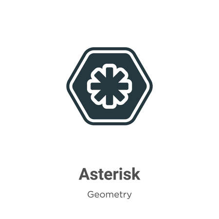 Asterisk glyph icon vector on white background. Flat vector asterisk icon symbol sign from modern geometry collection for mobile concept and web apps design.