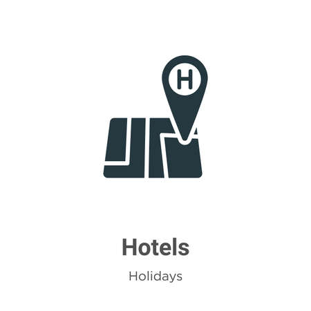 Hotels glyph icon vector on white background. Flat vector hotels icon symbol sign from modern holidays collection for mobile concept and web apps design.