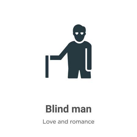 Blind man glyph icon vector on white background. Flat vector blind man icon symbol sign from modern love and romance collection for mobile concept and web apps design. 向量圖像