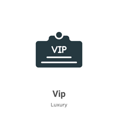 Vip glyph icon vector on white background. Flat vector vip icon symbol sign from modern luxury collection for mobile concept and web apps design. 矢量图像